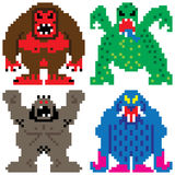 Worse nightmare terrifying monsters pixel art Royalty Free Stock Images