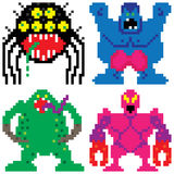 Worse nightmare terrifying monsters pixel art Stock Images