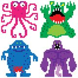 Worse nightmare terrifying monsters pixel art Royalty Free Stock Photo