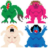 Worse nightmare terrifying monsters retro computer pixel art Stock Photography