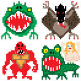 Worse terror horror monster eight bit pixel art vector illustration