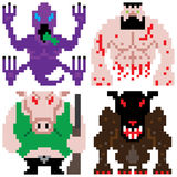 Worse terror horror monster retro computer eight bit pixel art Stock Photo