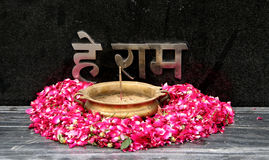 Worship. Hey Ram O God is written on the memorial of Mahatma Gandhi in New Delhi India Royalty Free Stock Photo