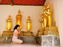 Worship Buddha. Buddhist woman worship Buddha at Thai temple Royalty Free Stock Images