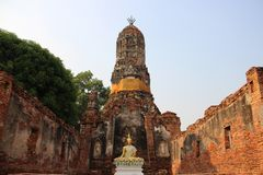Worship. Buddhist Temple  And Old Stupa. Ruins. Choeng Tha temple with Buddha and old pagoda with bricks walls Buddhist historical park. summertime in Ayutthaya royalty free stock image