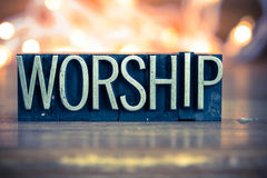 Worship Concept Metal Letterpress Type Royalty Free Stock Photos