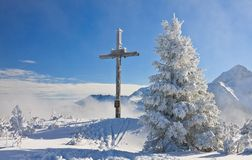 Worship the cross on the mountain. Schladming. Austria Royalty Free Stock Photography