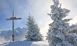 Worship the cross on the mountain. Schladming. Austria Royalty Free Stock Photo