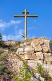 Worship cross on the Tsarev mound near Samara, Russia Stock Image