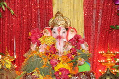 Worship of Elephant God festival. Idols of hindu god lord Ganesha being welcomed and worshipped at homes during 11 day annual Ganesha festival in Mumbai, India Royalty Free Stock Photo