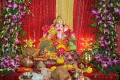 Worship of Elephant God festival. Idols of hindu god lord Ganesha being welcomed and worshipped at homes during 11 day annual Ganesha festival in Mumbai, India Stock Photos