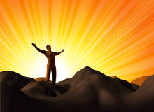 Worship and faith. Symbol represented by a man on a mountain top with his arms open on a glowing sunset background showing the concept of God and spirituality royalty free illustration