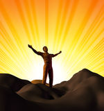 Worship and faith. Symbol represented by a man on a mountain top with his arms open on a glowing sunset background showing the concept of God and spirituality vector illustration