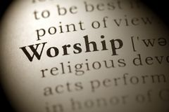 Worship. Fake Dictionary, Dictionary definition of the word Worship royalty free stock photo