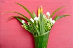 Worship. Flower ,candle warp with banana leaf prepare to worship Stock Photos