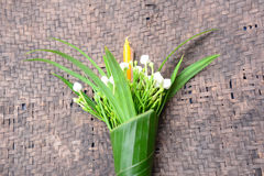 Worship. Flower ,candle warp with banana leaf prepare to worship Stock Images