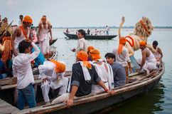 Worship of the Hindu goddess Durga in Varanasi, India Stock Photos