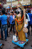 Worship of the Hindu goddess Durga in Varanasi, India Royalty Free Stock Images