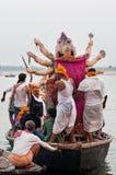 Worship of the Hindu goddess Durga in Varanasi, India Stock Photo