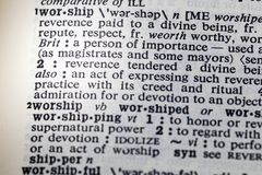 Worship honor power devotion definition. Dictionary reverence idolize respect admiration stock image