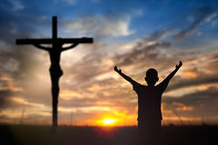 Worship Jesus on the Cross. People Worship Jesus on the Cross Stock Photo