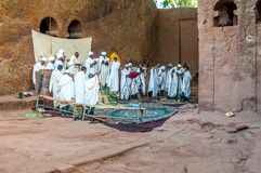 Worship in Lalibela complex Stock Photos