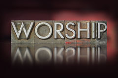 Worship Letterpress. The word worship written in vintage letterpress type royalty free stock images