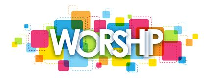 WORSHIP letters banner. WORSHIP overlapping letters banner on colorful squares background stock illustration