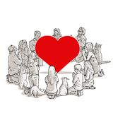The worship of love. Art cartoon royalty free illustration