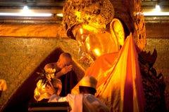 The worship Mahamyatmuni Buddha. Stock Photos