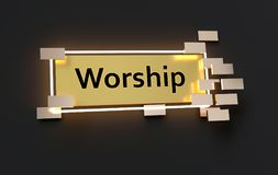 Worship modern golden sign. With golden cubes around and glowing neon light on the black wall , 3d rendered vector illustration