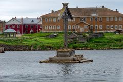 Worship and navigation cross in the Solovki Bay. Solovki Islands, Arkhangelsk region, White Sea royalty free stock photography