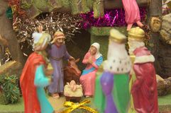Worship of the. Representation of the worship of the `Three Kings` newborn baby Jesus in the manger in Bethlehem stock photos