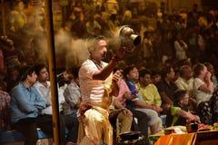 Worship the river goddess in Varanasi India Royalty Free Stock Image