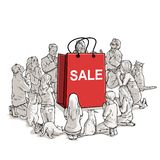 The worship of sales. Art cartoon royalty free illustration