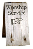 Worship Service Sign. Sign showing direction to church worship service, includes clipping path Stock Photos