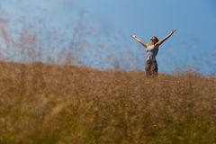 Worship in sunny meadow soft focus Royalty Free Stock Images