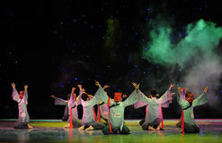Worship teach-The Nuo-The exorcism dance. In December 27, 2014, the Department of dance of the students are for the annual graduation performance report in the Royalty Free Stock Photo
