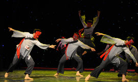 Worship teach-The Nuo-The exorcism dance. In December 27, 2014, the Department of dance of the students are for the annual graduation performance report in the Stock Photo