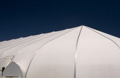 Worship tent. Outside shot of a white dome shape plastic tent used as a worship center at a church Stock Photo