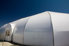 Worship tent. Outside shot of a white dome shape plastic tent used as a worship center at a church Royalty Free Stock Photography