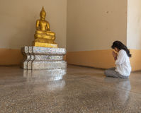 Worship to Buddha statue Stock Image