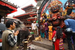 Worship to Kali, the Nepal goddess Royalty Free Stock Photography