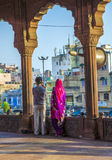 Worshiper family look from the   courtyard of Jama Masjid Mosque Stock Photos