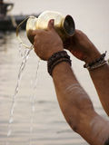 Worshiper on River Ganga Stock Photo
