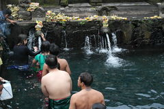 Worshipers bathing in Holy Water Temple Tirta Empul Bali Royalty Free Stock Photo
