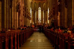 Worshipers in church, Cologne, Germany