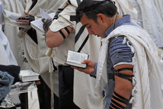 Worshipers pray at the Wailing Wall Stock Photography