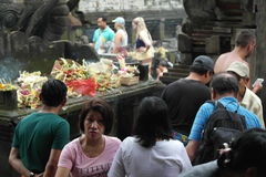 Worshipers in Tirta Empul Temple Bali Stock Image