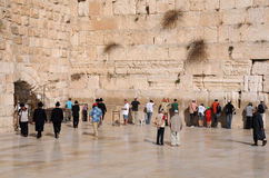 Worshipers At the Wailing Wall Royalty Free Stock Images